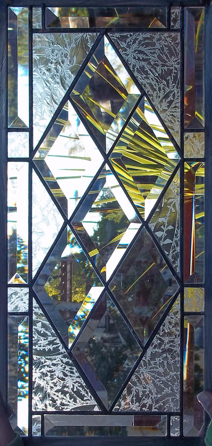 Diamond Beveled Stained Glass Window Panel Customizable Transom Sidelight