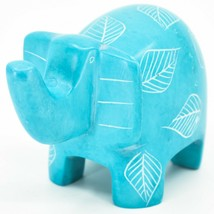 Vaneal Group Hand Crafted Carved Soapstone Sky Blue Elephant Figurine Made Kenya image 2