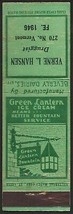Vintage match book cover GREEN LANTERN ICE CREAM #2 Beverly Dairies Vern... - $8.99