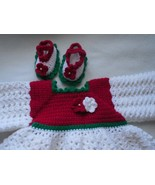 baby dress, baby sweater set, booties, baby girl, dressy set, newborn girl - $50.00