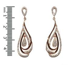 Glitzy Pave AAA CZ Rose Plated Open Tear Drop Dangle Earrings 44mm - $39.59