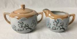 Vintage Japanese Luster Ware Creamer and Lidded Sugar Dish Moriage - $24.95