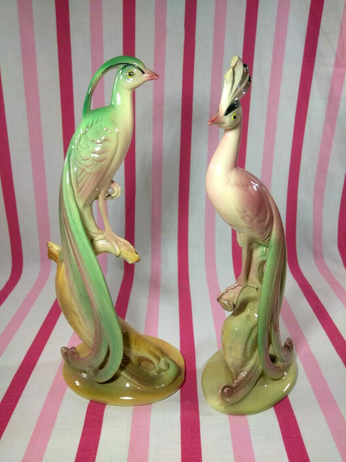 Beautiful Vintage 1940's Brad Keeler Ceramic Peacock and Peahen Ceramic Figurals