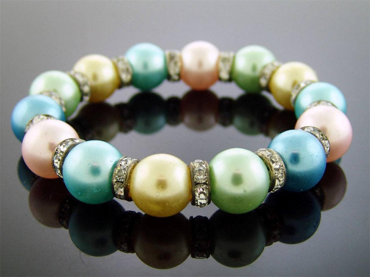 Primary image for PEARL MULTI COLOR 7 INCH HIGH LOOKS CZ BRACELET