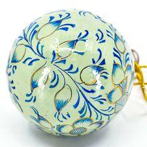Asha Handicrafts Painted Papier-Mâché Blue & Gold Floral Christmas Ornament image 4