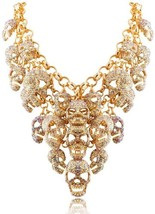 Skulls Fashion Yellow Resin Cluster Jewelry Evening Necklace - $130.25