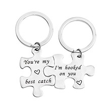 bobauna His And Hers Puzzle Piece Keychain Set of 2 Hooked On You My Bes... - $21.84