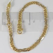 Armband Gelbgold Weiß 750 18K, Bordstein Gerundet und Infinito 16.5 CM - $592.06