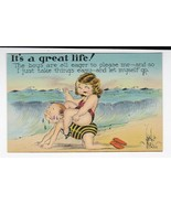 IT'S A GREAT LIFE VINTAGE ARTIST SIGNED POSTCARD WALTER WELLMAN - $4.48