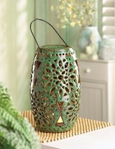6 Glazed Green Ceramic Lanterns w/ Floral Cutouts LED Flameless Candles ... - $177.46