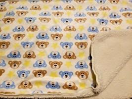 Kidgets Teddy Bear Face Baby Blanket Stars Tan Yellow Blue White Sherpa ... - $39.58