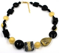 NECKLACE ORANGE BLACK SPHERE SQUARE DROP MURANO GLASS GOLD LEAF SPIRAL ITALY image 1
