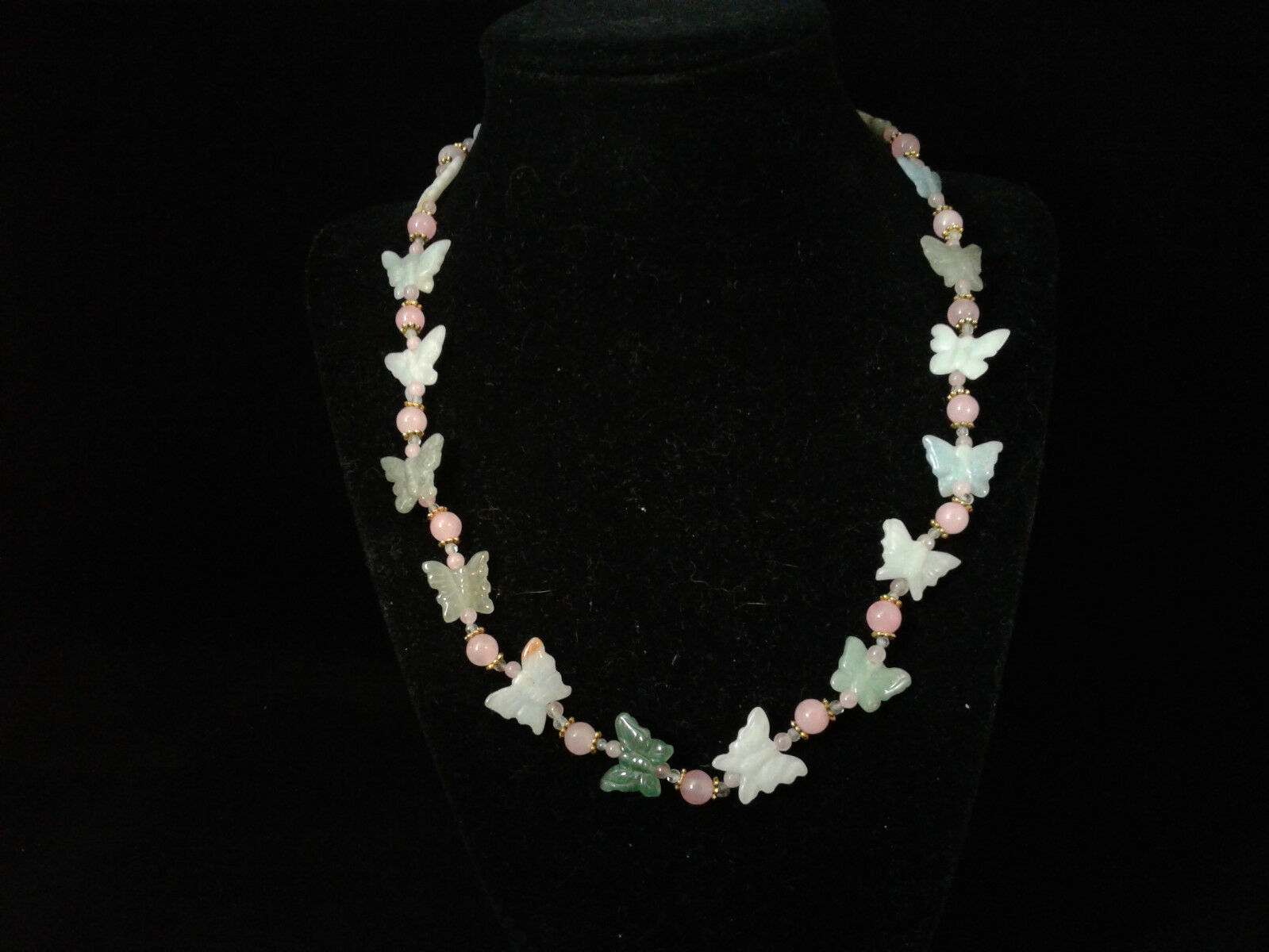 "19.5"" Necklace, Green and Pink Jade, Aquamarine, Beaded, Handmade, Butterfly 88"
