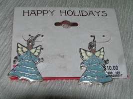 HAPPY HOLIDAYS Blue  & White Enamel Christmas Angel Dangle Earrings for ... - $6.97