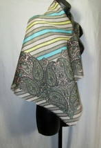 Womens Paisley Scarf Size 30x30  Fringe Trim Gray Pink Teal Striped - $9.88