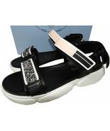 Prada Black Leather Flat Sport Sandals Open Toe Espadrilles Shoe Slides 38 - $289.00