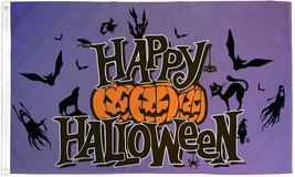 HAPPY HALLOWEEN PURPLE  3X5' FLAG BANNER NEW JACK O LANTERNS BATS PUMPKI... - $9.85
