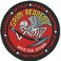 "4.5"" NAVY VF-101 F-14 MOE TOMCATS GRIM REAPERS EMBROIDERED JACKET PATCH - $18.99"