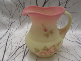 "FENTON ART GLASS BURMESE ""ROSE BURMESE""  4.5"" CREAMER/PITCHER S. LEWIS - $55.00"