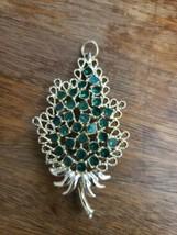 Vintage gold With green rhinestones tree pin Pendant - $30.00