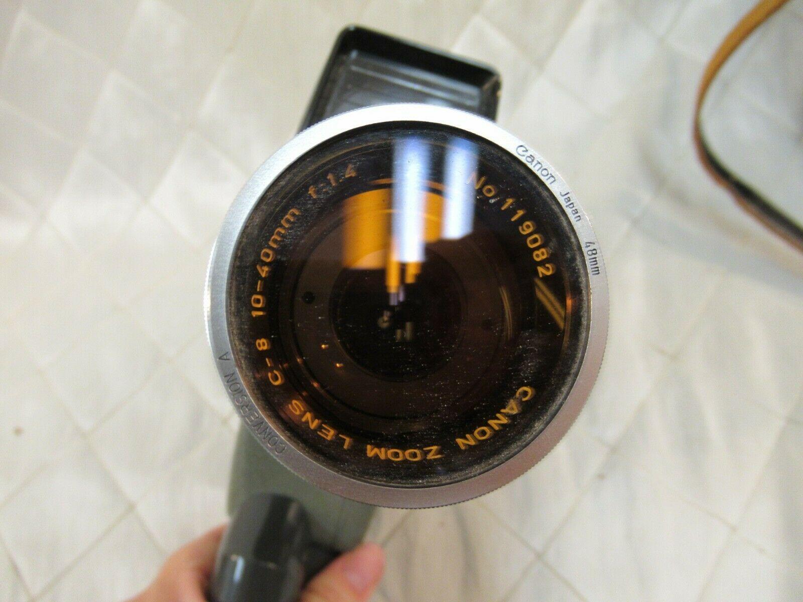 Vintage Canon Reflex Zoom 8-2 Super 8 Film Video Camera w Leather Case Manual