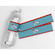 Airplane Up Up and Away Kids Birthday Personalized Water Bottle Labels  - $21.78