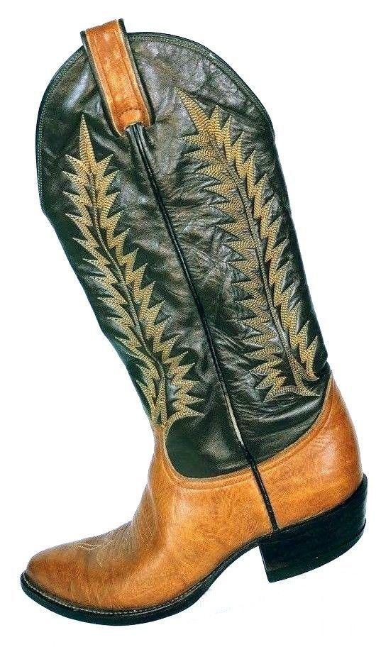 Vintage Tony Lama Men's Brown Leather Two Tone Western Cowboy Boots 6552 7 D