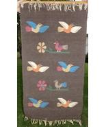 Brown Wool Blanket Southwest Native American Print Wall Hanging Vtg Bird... - $73.42