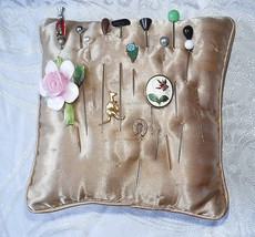 15 ANTIQUE VINTAGE HAT PINS ON CUSHION ENAMEL GLASS CHINA JET FAUX PEARL... - $24.13