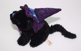 "Dan Dee Black Cat w/ Purple Sparkly Witch Hat & Bow Tie Plush 6"" Halloween - €11,74 EUR"