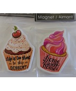 CUPCAKE FRIDGE MAGNETS 2pc Set Ceramic 3.5in x 2.5in Cake Dessert Home NEW - $12.99