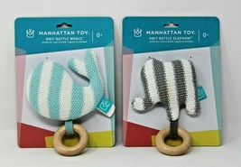 Manhattan Toy Baby Knit Rattle Elephant & Whale Striped Brand New - $14.24