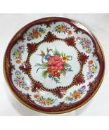Vtg Asher metalware England tin fruit bowl rose floral home decor - $16.83