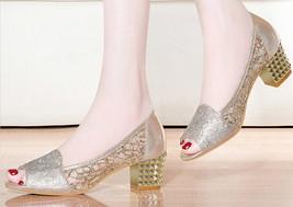 93s010 Lady's square heel sandals, 5 cm heel, size 4-9.5, gold - $62.80