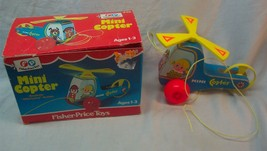 VINTAGE Fisher-Price 1970 MINI COPTER Helicopter PULL TOY #448 w/ BOX - $34.65