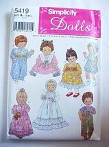 Simplicity 5419 Clothes Pattern For 3 Sizes Of Baby Dolls   38-28 - $10.00