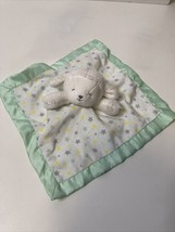 Carters Child of Mine Lamb Stars Baby Blanket Gray Green Satin Security ... - $17.82
