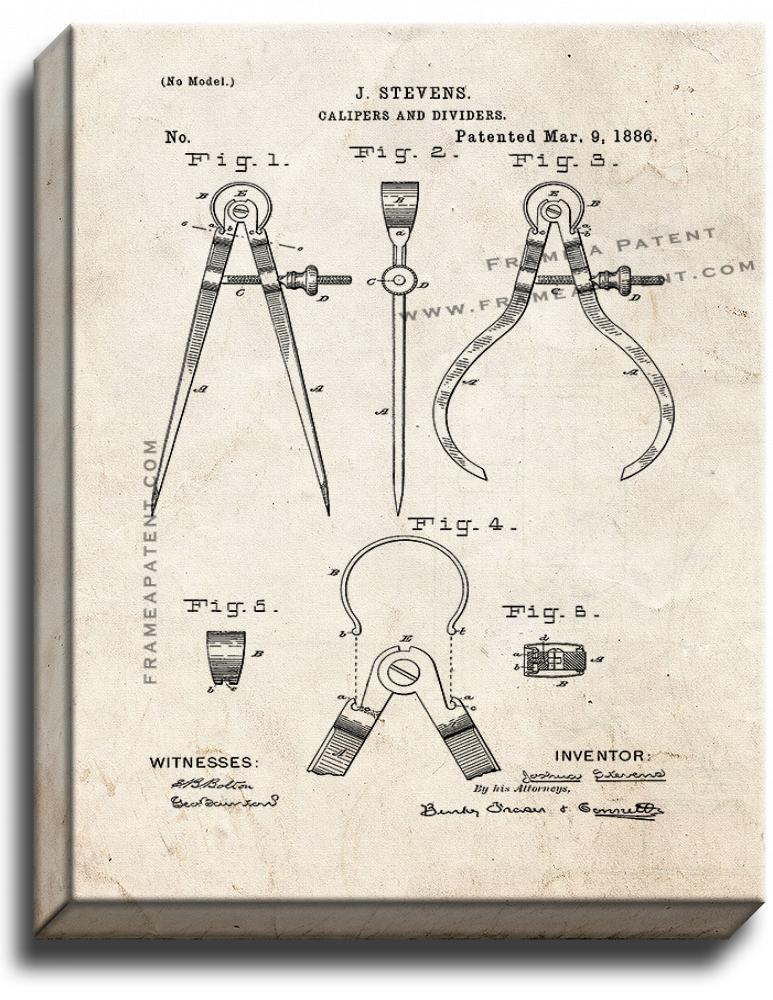 Primary image for Calipers And Dividers Patent Print Old Look on Canvas