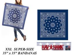 "35""x35""BLUE SUPERSIZE XXL GIANT PAISLEY BANDANA Bandanna Head Wrap Scarf... - $19.99"