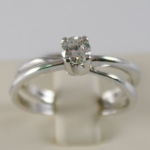 18K WHITE GOLD SOLITAIRE WEDDING BAND DOUBLE RING DIAMOND 0.35 MADE IN ITALY image 1