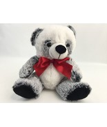 Dan Dee Collector's Choice Sitting Teddy Bear White Gray Red Ribbon 11 Inch - $14.69