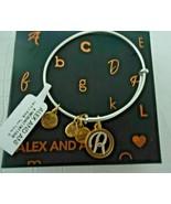 NEW Alex and Ani INITIAL R Two Tone Charm Bangle Bracelet NWT & CARD - $19.79