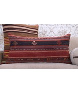Vintage Anatolian Kilim Pillow 14x28 Embroidered Decorative Rug Cushion Free Shi - $57.32