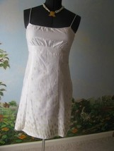 ANN TAYLOR LOFT White Cotton Dress Embellished with Gold Embroidery Size... - $43.56