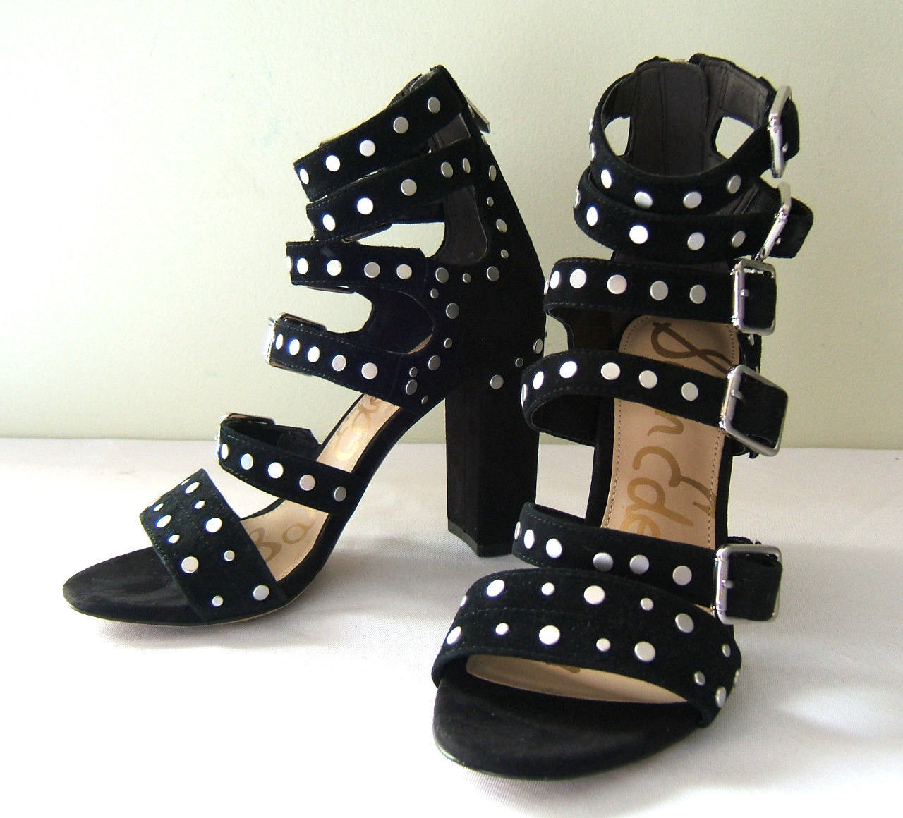 90070a9856b54 Sam Edelman Black Studded Suede Leather and 45 similar items. S l1600