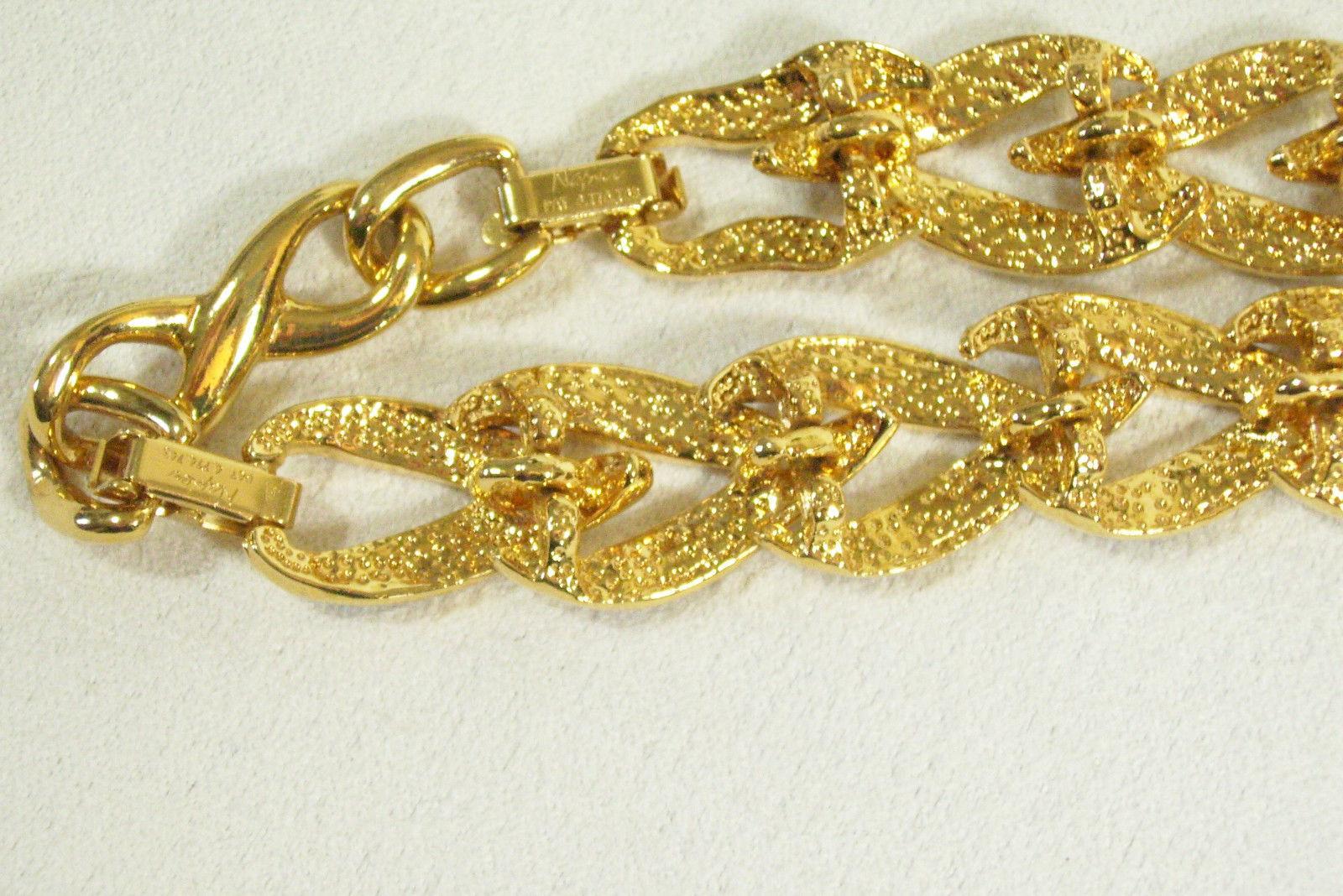 NAPIER Gold Plated BLACK Enamel CURB Link Chain Choker Necklace Extension Vintg