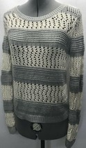GAP Stripe Sweater Top Size Small S Long Sleeve Loose Knit Cotton Gray Cream - $14.24