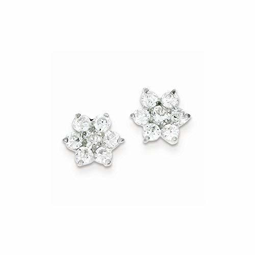 Primary image for Sterling Silver Floral Cz Earrings, Best Quality Free Gift Box