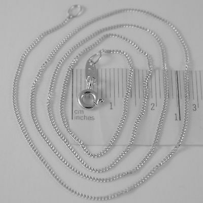 18K WHITE GOLD CHAIN 17.7 MINI CUBAN CURB GOURMETTE LINK 0.9 MM, MADE IN ITALY