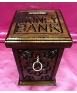 Wooden hand engraved key locked tipbox moneybox piggy penny coin bank 1 - $39.56